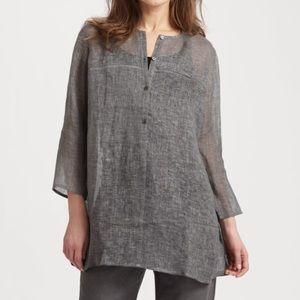 Eileen Fisher Gray Tinted Linen Gauze Tunic